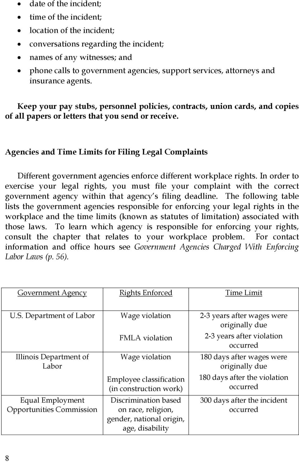 Agencies and Time Limits for Filing Legal Complaints Different government agencies enforce different workplace rights.