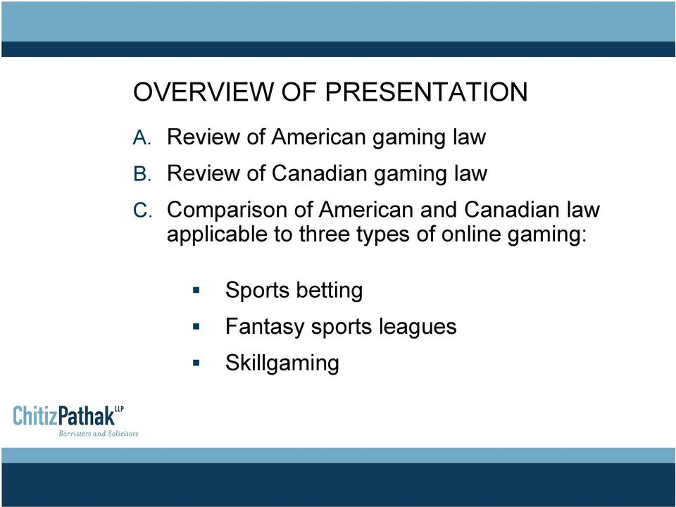 Review of Canadian gaming law C.