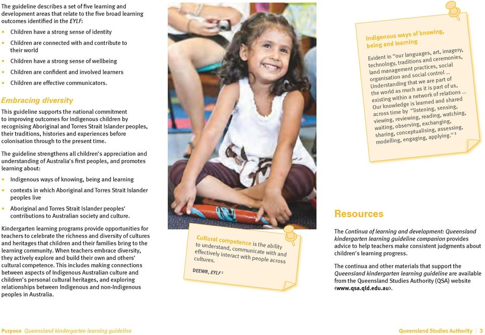 Embracing diversity This guideline supports the national commitment to improving outcomes for Indigenous children by recognising Aboriginal and Torres Strait Islander peoples, their traditions,