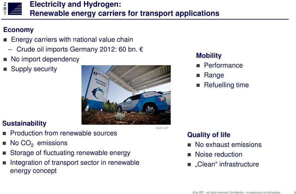 No import dependency Supply security Mobility Performance Range Refuelling time Sustainability Production from renewable