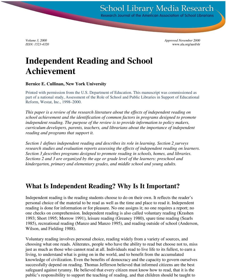 This paper is a review of the research literature about the effects of independent reading on school achievement and the identification of common factors in programs designed to promote independent