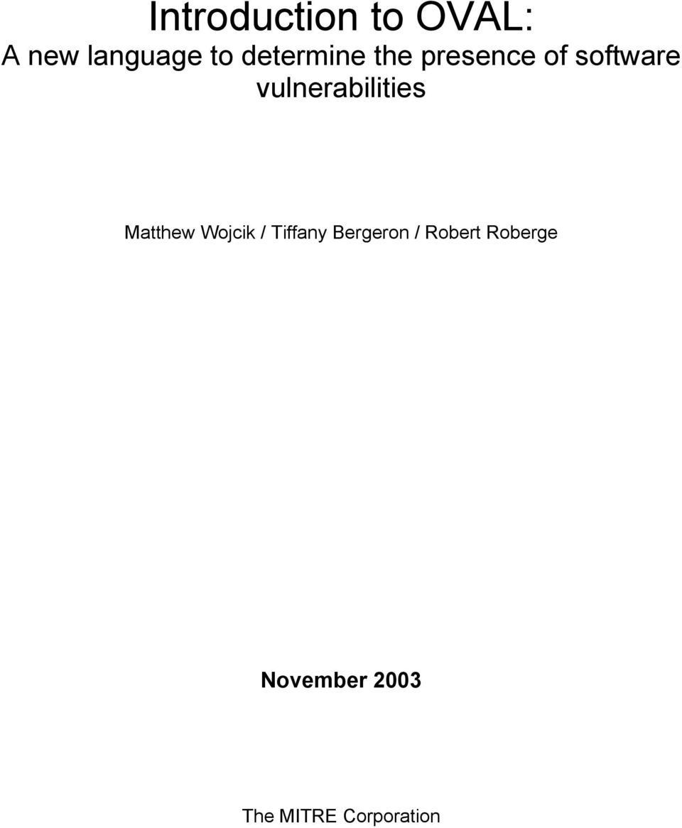 vulnerabilities Matthew Wojcik / Tiffany