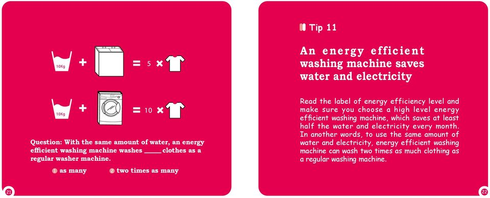 as many two times as many Read the label of energy efficiency level and make sure you choose a high level energy efficient washing machine,