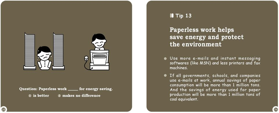 is better makes no difference If all governments, schools, and companies use e-mails at work, annual savings of paper