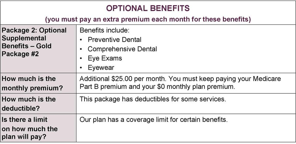 OPTIONAL BENEFITS (you must pay an extra premium each month for these benefits) Benefits include: Preventive Dental Comprehensive