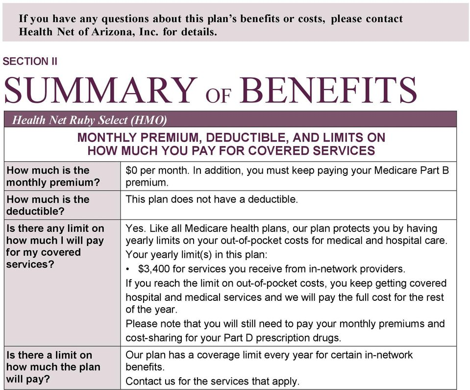 How much is the deductible? Is there any limit on how much I will pay for my covered services? Is there a limit on how much the plan will pay? $0 per month.