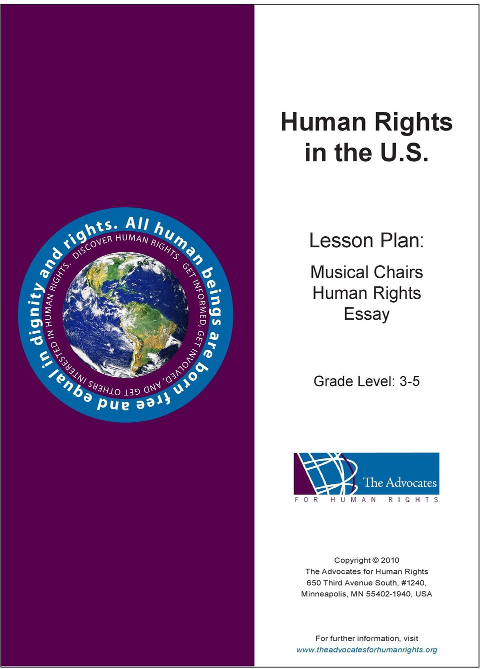 Musical Chairs Human Rights Essay Grade Level: 3-5 Copyright 2010 The
