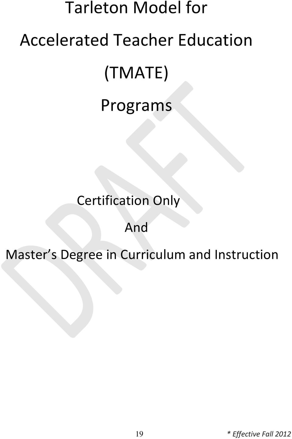 Certification Only And Master s Degree