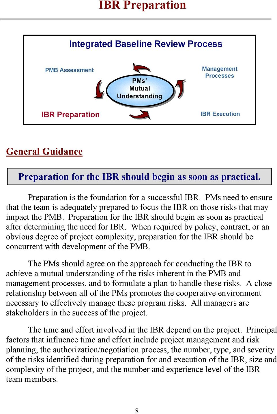 Preparation for the IBR should begin as soon as practical after determining the need for IBR.