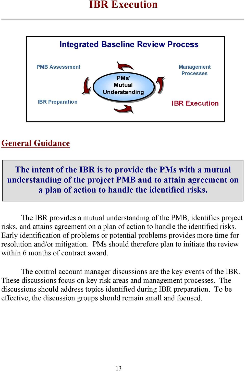 The IBR provides a mutual understanding of the PMB, identifies project risks, and attains agreement on a plan of action to handle the identified risks.