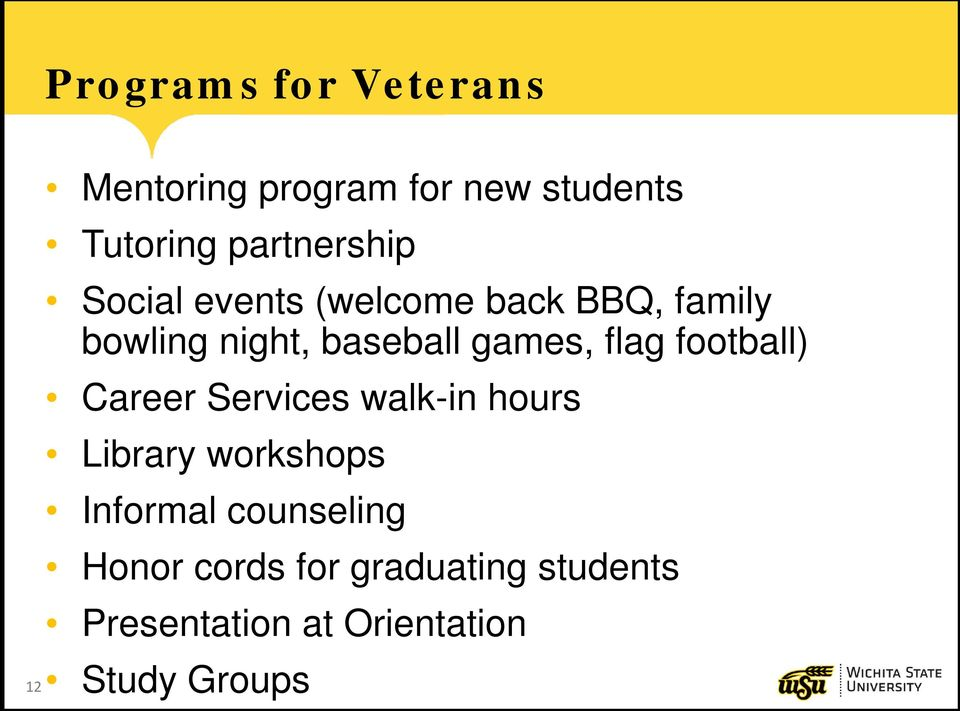 games, flag football) Career Services walk-in hours Library workshops