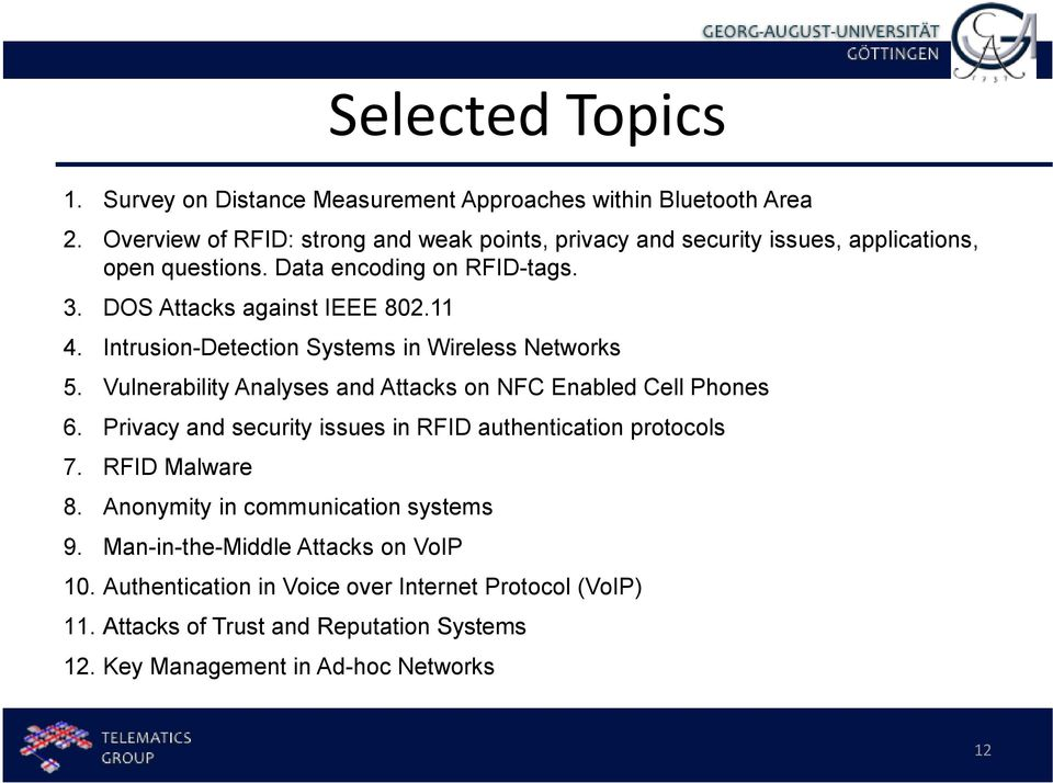 Intrusion-Detection Systems in Wireless Networks 5. Vulnerability Analyses and Attacks on NFC Enabled Cell Phones 6.