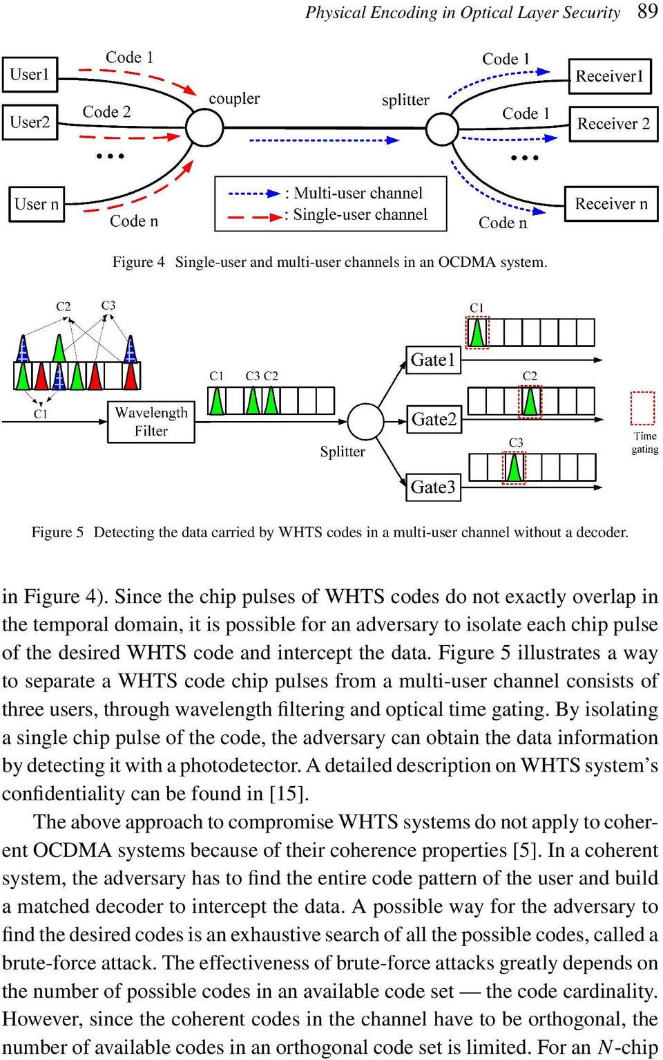 Since the chip pulses of WHTS codes do not exactly overlap in the temporal domain, it is possible for an adversary to isolate each chip pulse of the desired WHTS code and intercept the data.