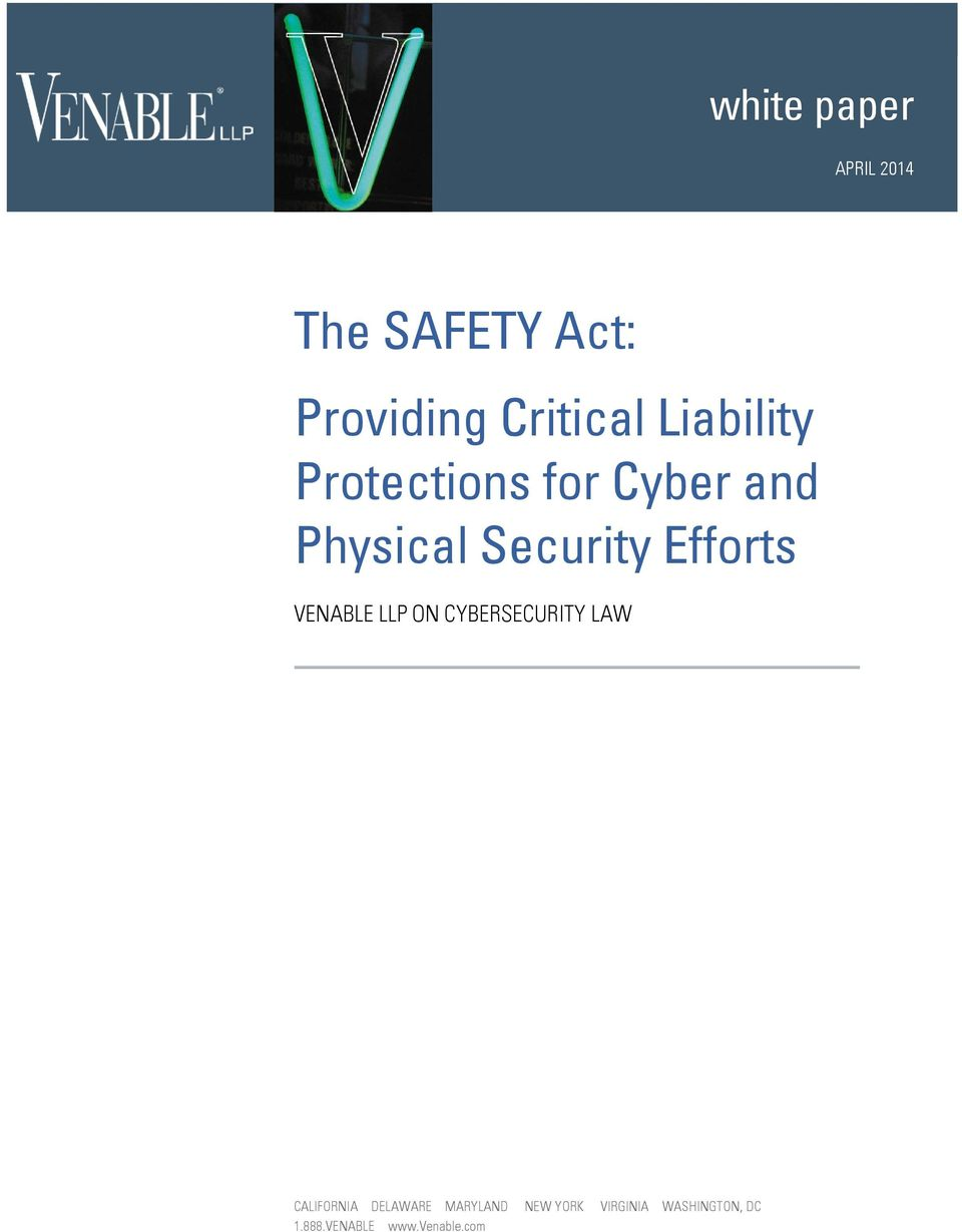 Efforts VENABLE LLP ON CYBERSECURITY LAW CALIFORNIA DELAWARE