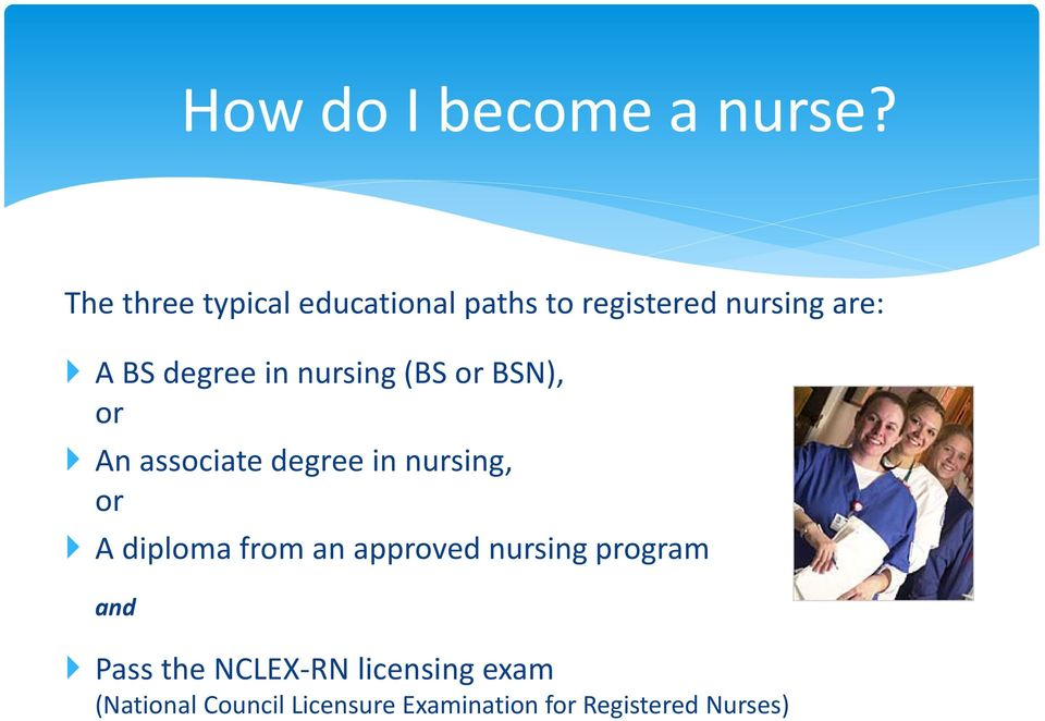 in nursing (BS or BSN), or An associate degree in nursing, or A diploma