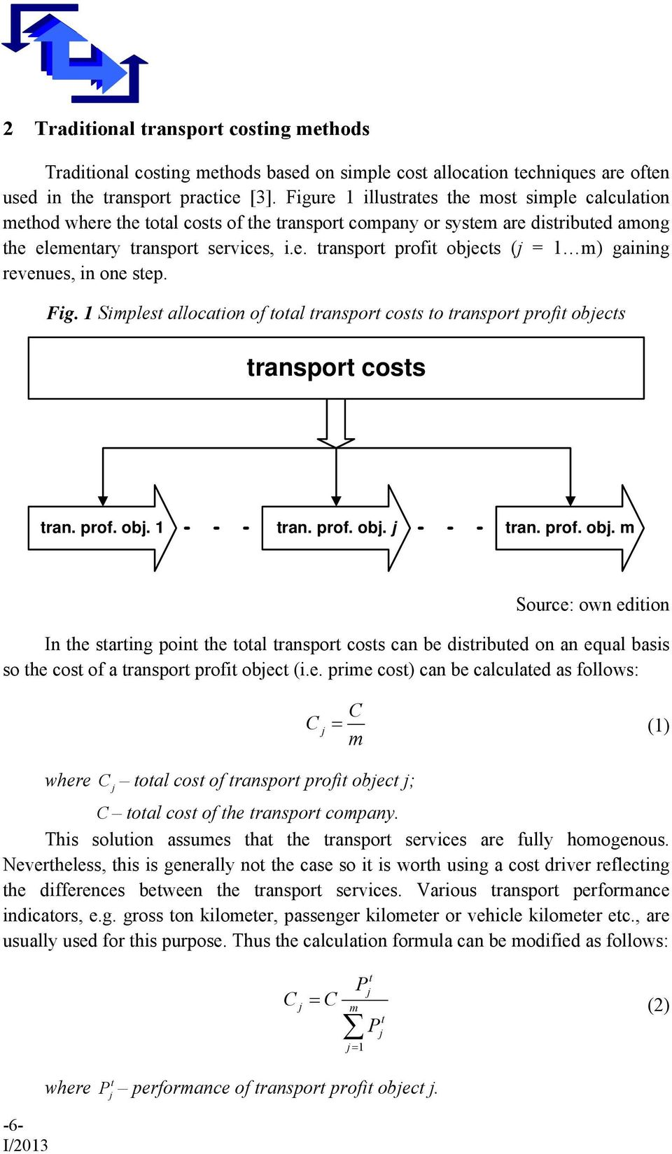 Fig. 1 Simlest allocation of total transort costs to transort rofit obe