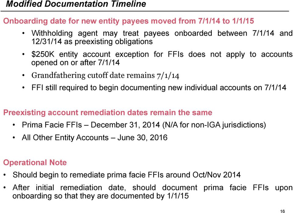 individual accounts on 7/1/14 Preexisting account remediation dates remain the same Prima Facie FFIs December 31, 2014 (N/A for non-iga jurisdictions) All Other Entity Accounts June 30, 2016