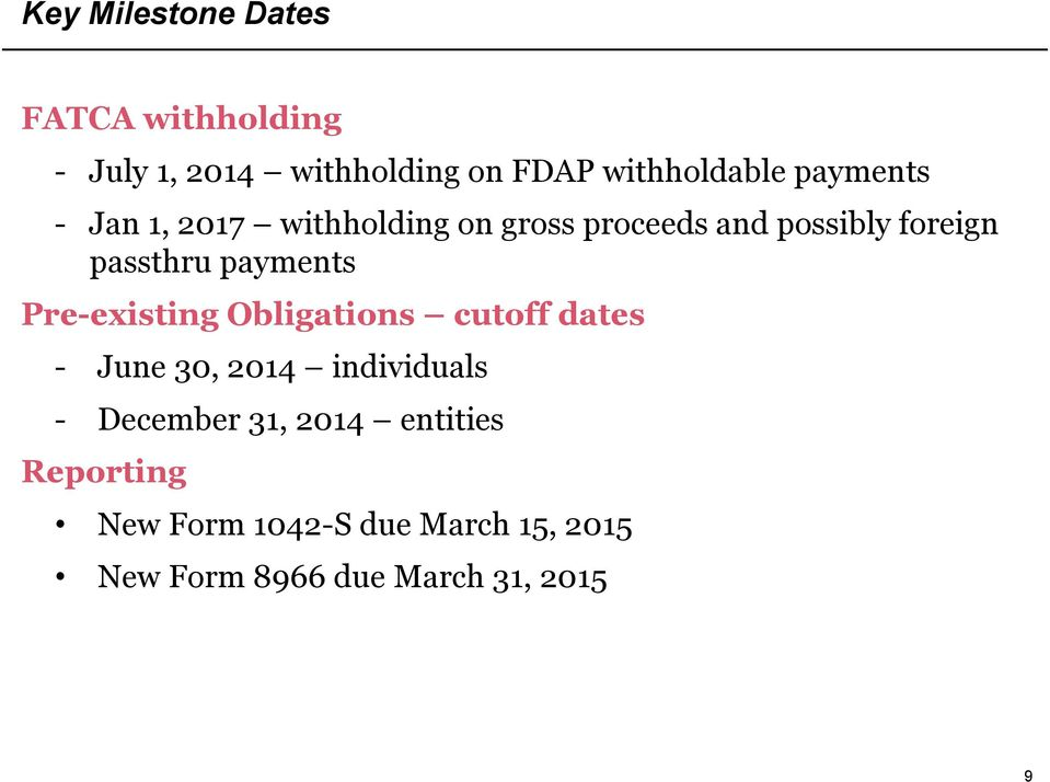 payments Pre-existing Obligations cutoff dates - June 30, 2014 individuals - December