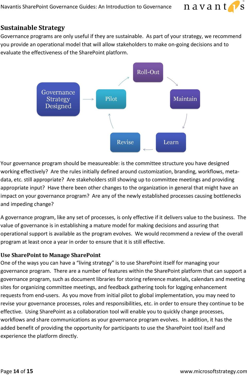 Roll-Out Governance Strategy Designed Pilot Maintain Revise Learn Your governance program should be measureable: is the committee structure you have designed working effectively?