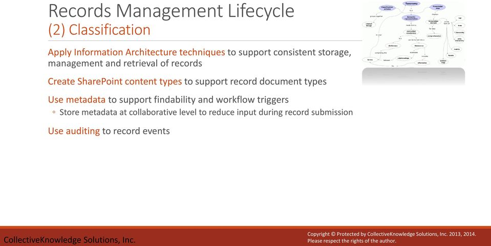 document types Use metadata to support findability and workflow triggers Store metadata at collaborative