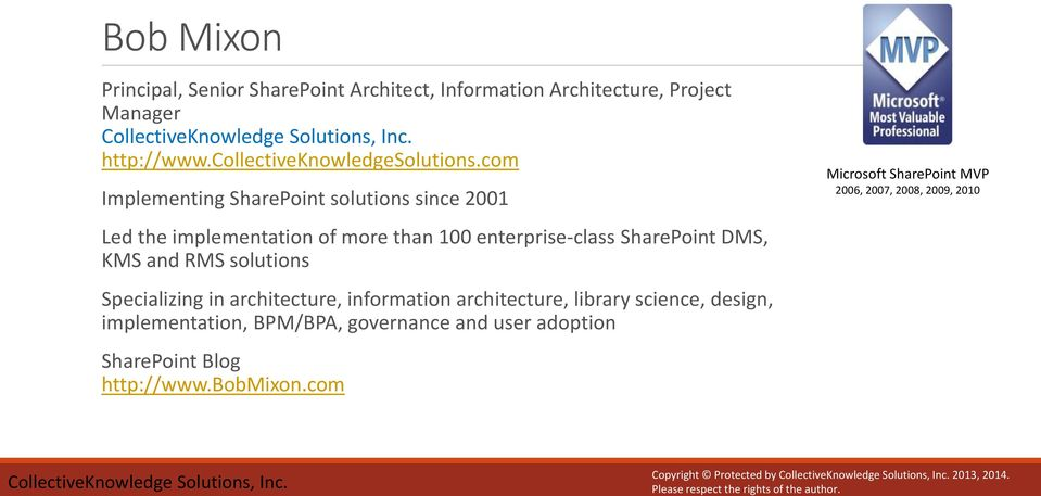 solutions Specializing in architecture, information architecture, library science, design, implementation, BPM/BPA, governance and