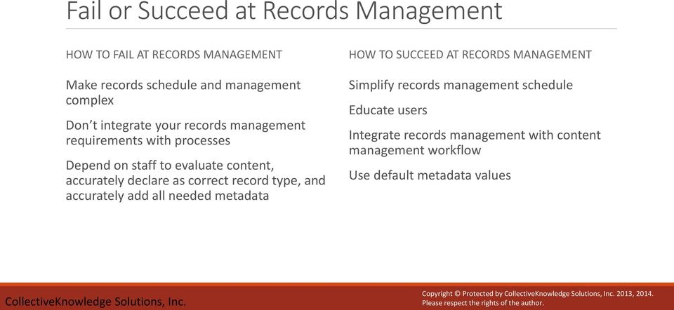 record type, and accurately add all needed metadata HOW TO SUCCEED AT RECORDS MANAGEMENT Simplify records management schedule