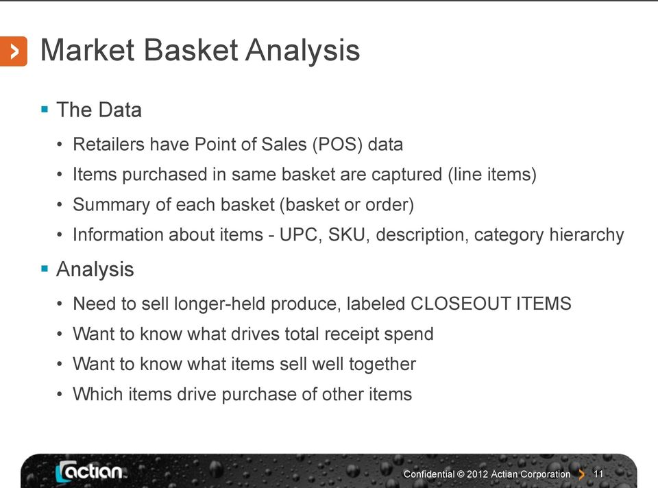 description, category hierarchy Analysis Need to sell longer-held produce, labeled CLOSEOUT ITEMS Want to