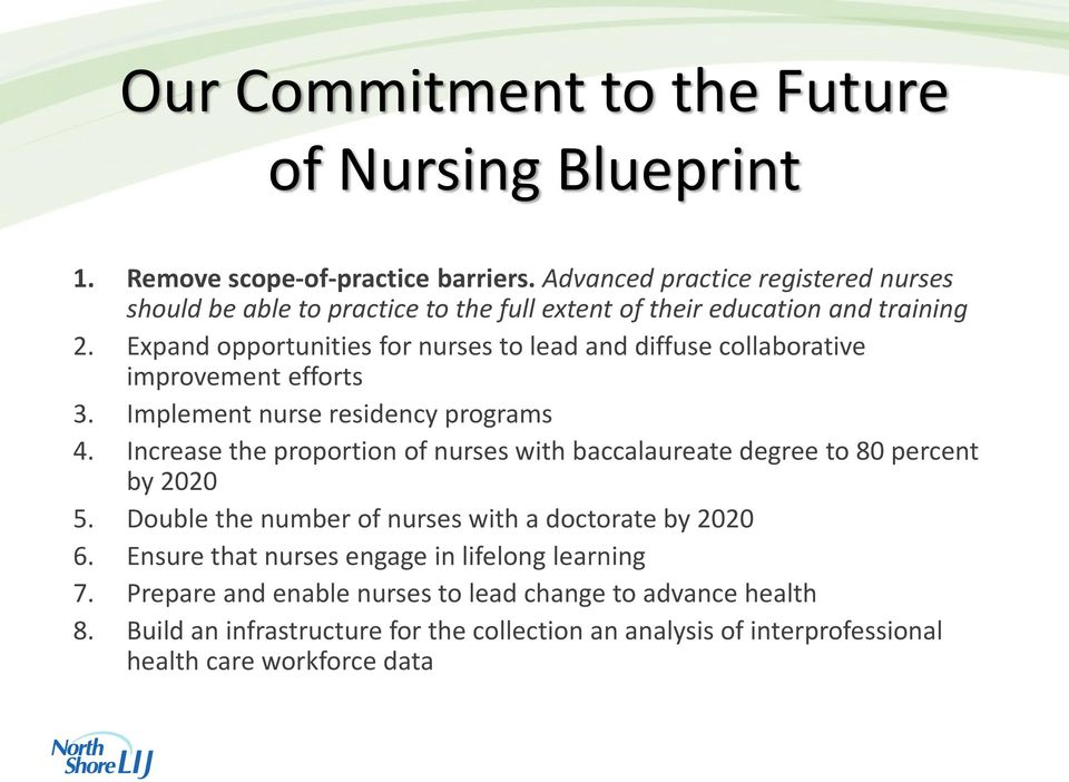 Expand opportunities for nurses to lead and diffuse collaborative improvement efforts 3. Implement nurse residency programs 4.