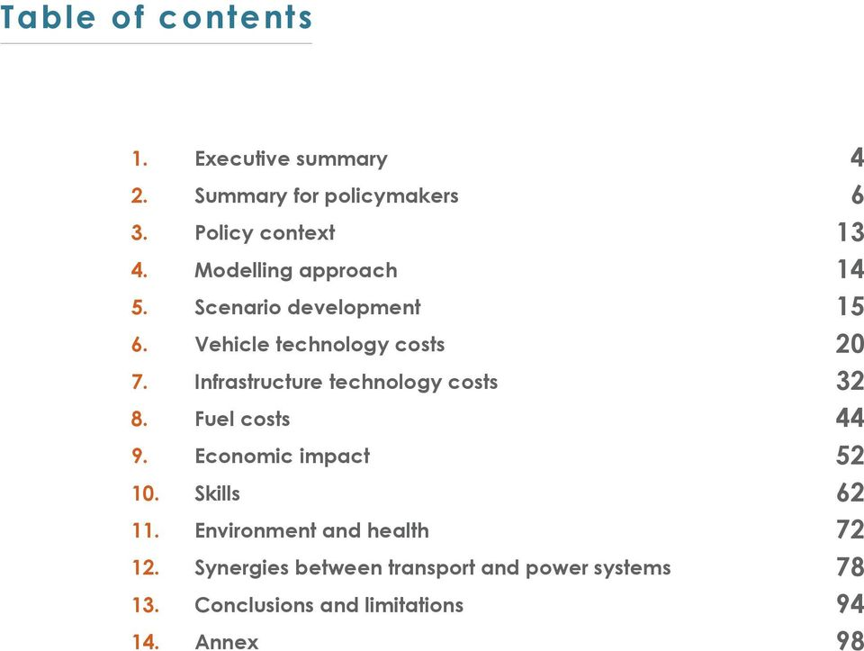 Infrastructure technology costs 8. Fuel costs 9. Economic impact 10. Skills 11.