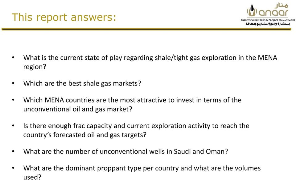 Which MENA countries are the most attractive to invest in terms of the unconventional oil and gas market?