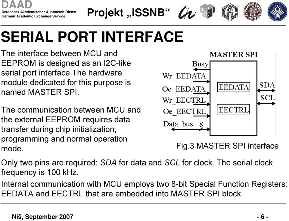 The communication between MCU and the external EEPROM requires data transfer during chip initialization, programming and normal operation mode. Fig.