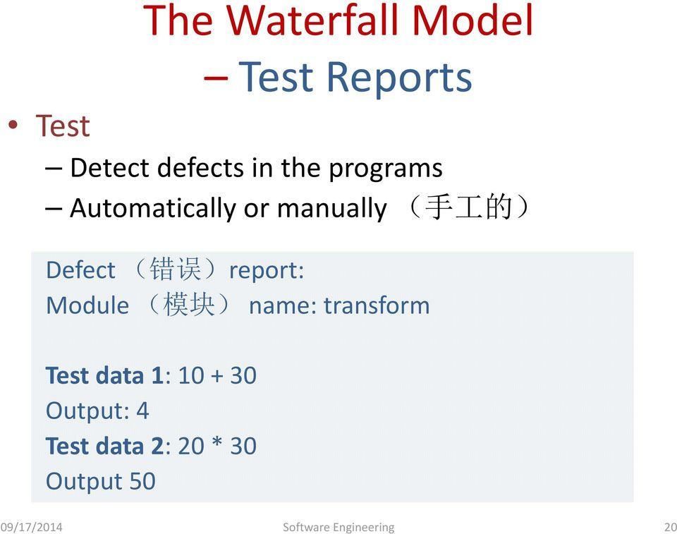 Output 50 Test Reports Test Detect defects in the programs