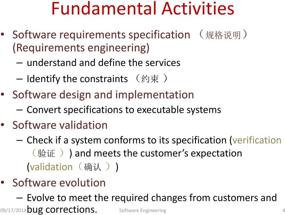 Software validation Check if a system conforms to its specification (verification ( 验 证 )) and meets the customer s expectation