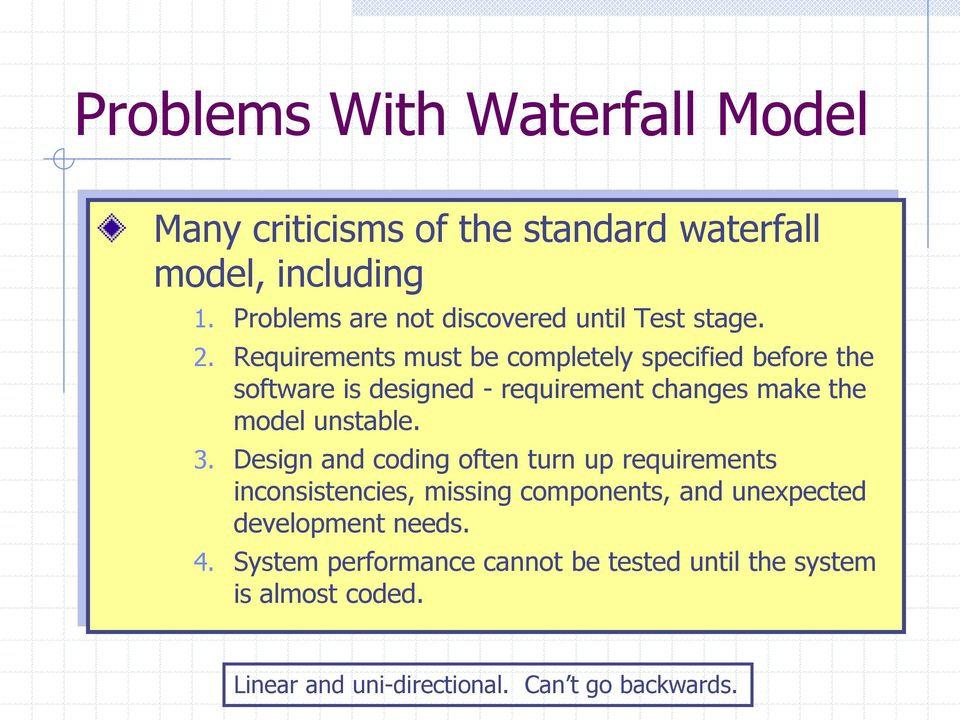 Requirements must be completely specified before the software is designed - requirement changes make the model unstable. 3.