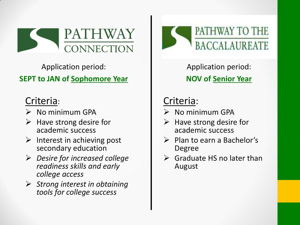 access Strong interest in obtaining tools for college success Application period: NOV of Senior Year Criteria: No