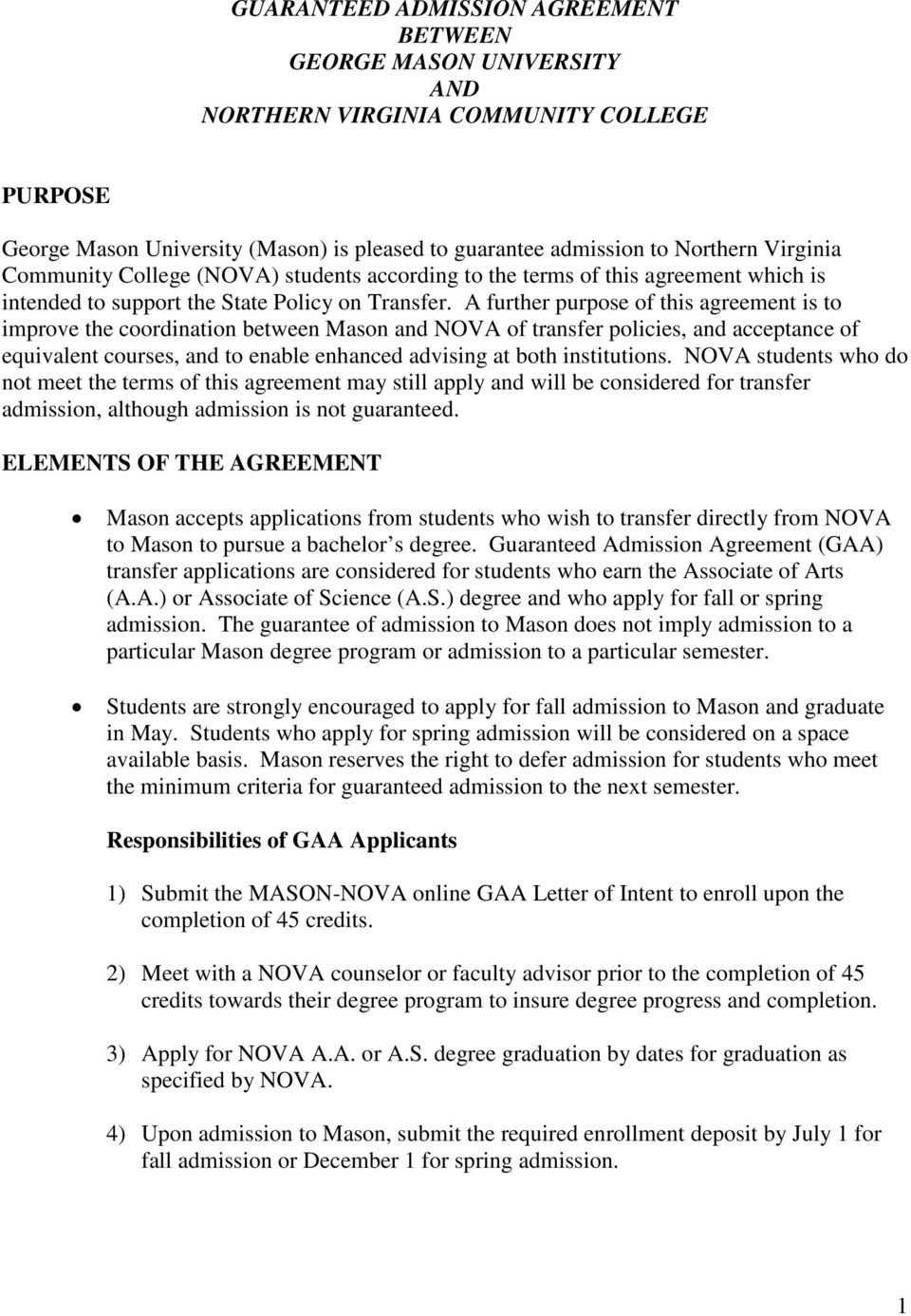 Guaranteed Admission Agreement Between George Mason University And