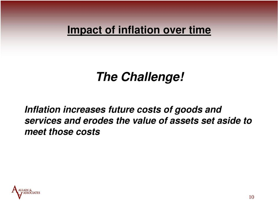 Inflation increases future costs of