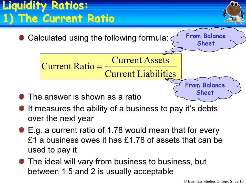 a current ratio of 1.78 would mean that for every 1 a business owes it has 1.