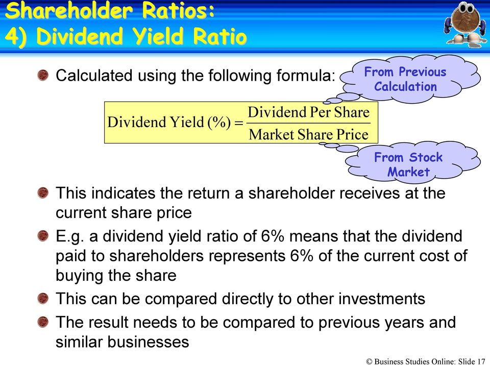 a dividend yield ratio of 6% means that the dividend paid to shareholders represents 6% of the current cost of buying the share