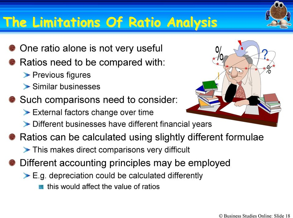 Ratios can be calculated using slightly different formulae This makes direct comparisons very difficult Different accounting