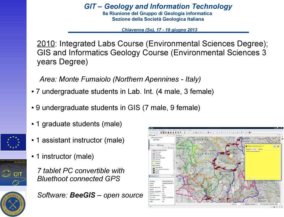 (4 male, 3 female) 9 undergraduate students in GIS (7 male, 9 female) 1 graduate students (male) 1 assistant
