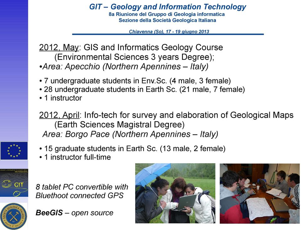 (21 male, 7 female) 1 instructor 2012, April: Info-tech for survey and elaboration of Geological Maps (Earth Sciences Magistral Degree)