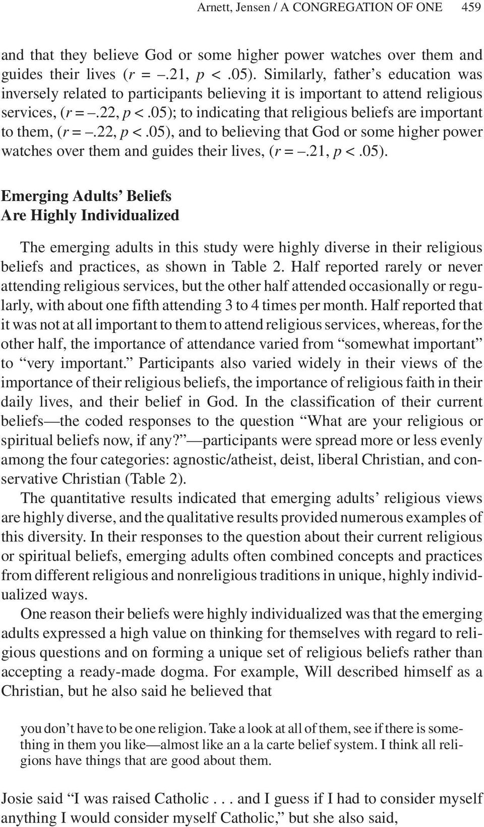 05); to indicatingthat religious beliefs are important to them, (r =.22, p <.05), and to believingthat God or some higher power watches over them and guides their lives, (r =.21, p <.05). Emerging Adults Beliefs Are Highly Individualized The emerging adults in this study were highly diverse in their religious beliefs and practices, as shown in Table 2.