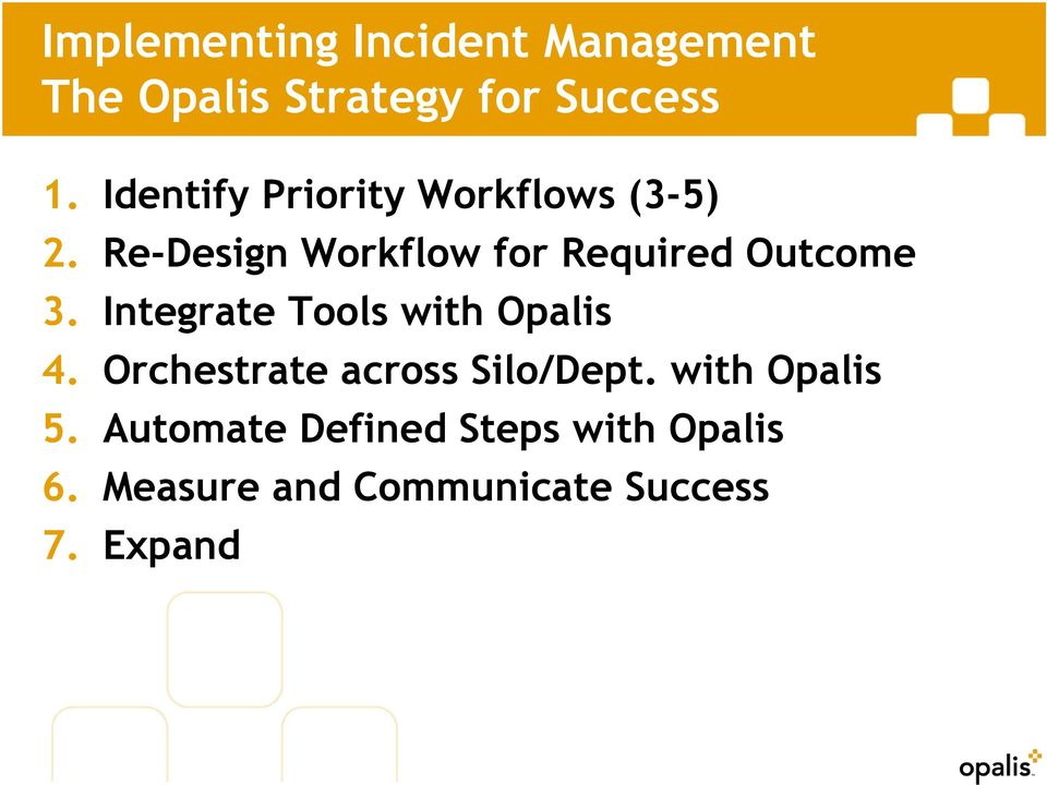 Re-Design Workflow for Required Outcome 3. Integrate Tools with Opalis 4.