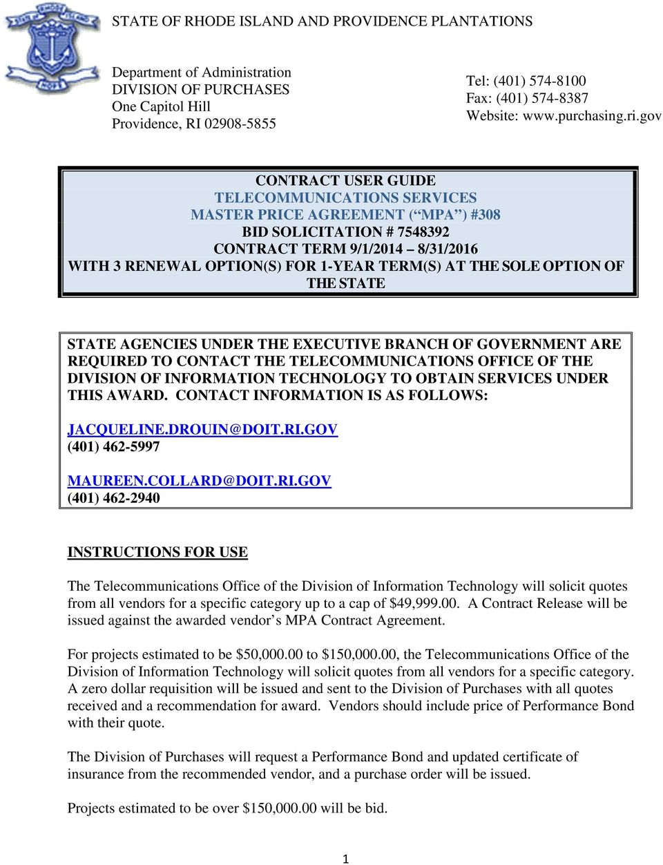 gov CONTRACT USER GUIDE TELECOMMUNICATIONS SERVICES MASTER PRICE AGREEMENT  ( MPA ) #308 BID SOLICITATION