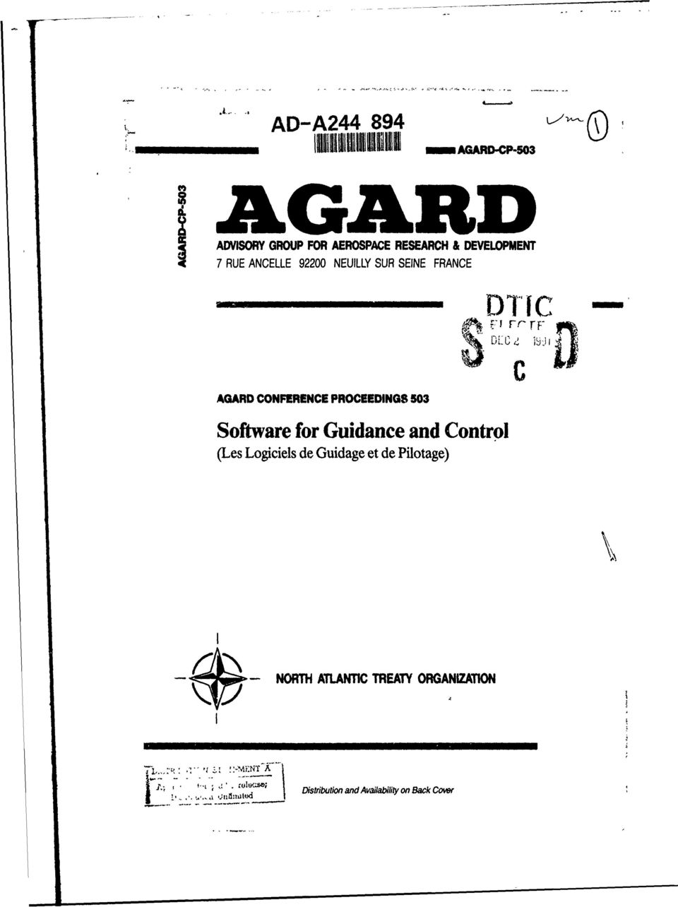 SEINE FRANCE DTIC AGARD CONFERENCE PROCEEDINGS 503 Software for Guidance and Control (Les