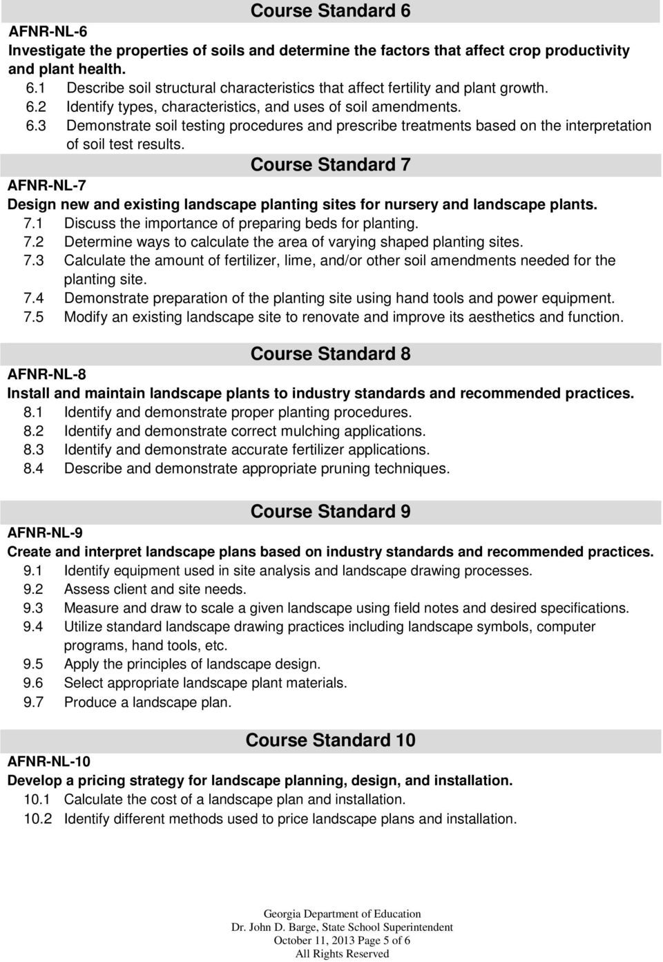 Course Standard 7 AFNR-NL-7 Design new and existing landscape planting sites for nursery and landscape plants. 7.1 Discuss the importance of preparing beds for planting. 7.2 Determine ways to calculate the area of varying shaped planting sites.