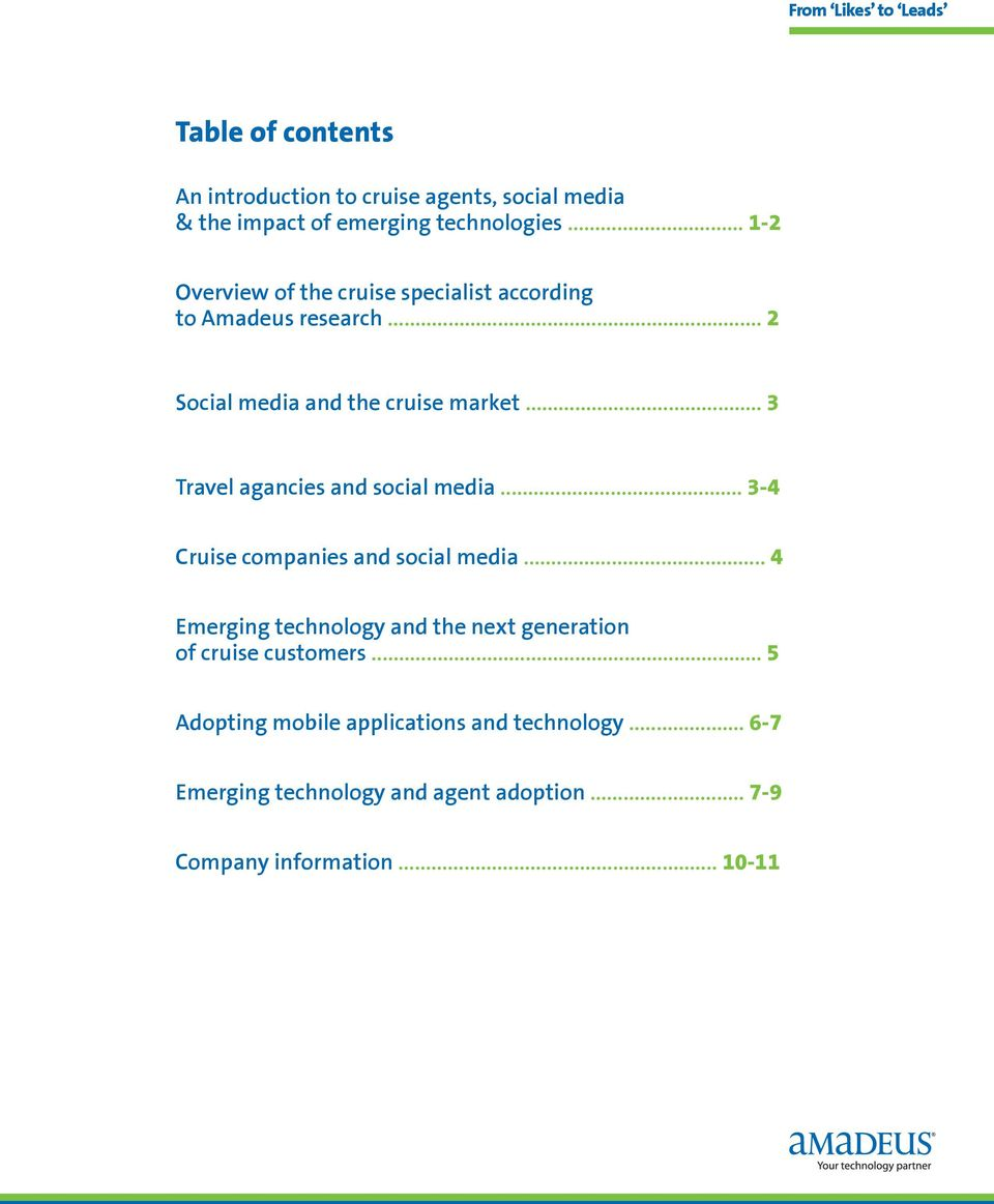.. 3 Travel agancies and social media... 3-4 Cruise companies and social media.
