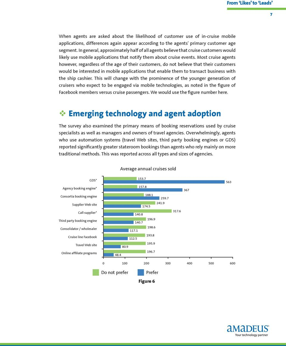 Most cruise agents however, regardless of the age of their customers, do not believe that their customers would be interested in mobile applications that enable them to transact business with the