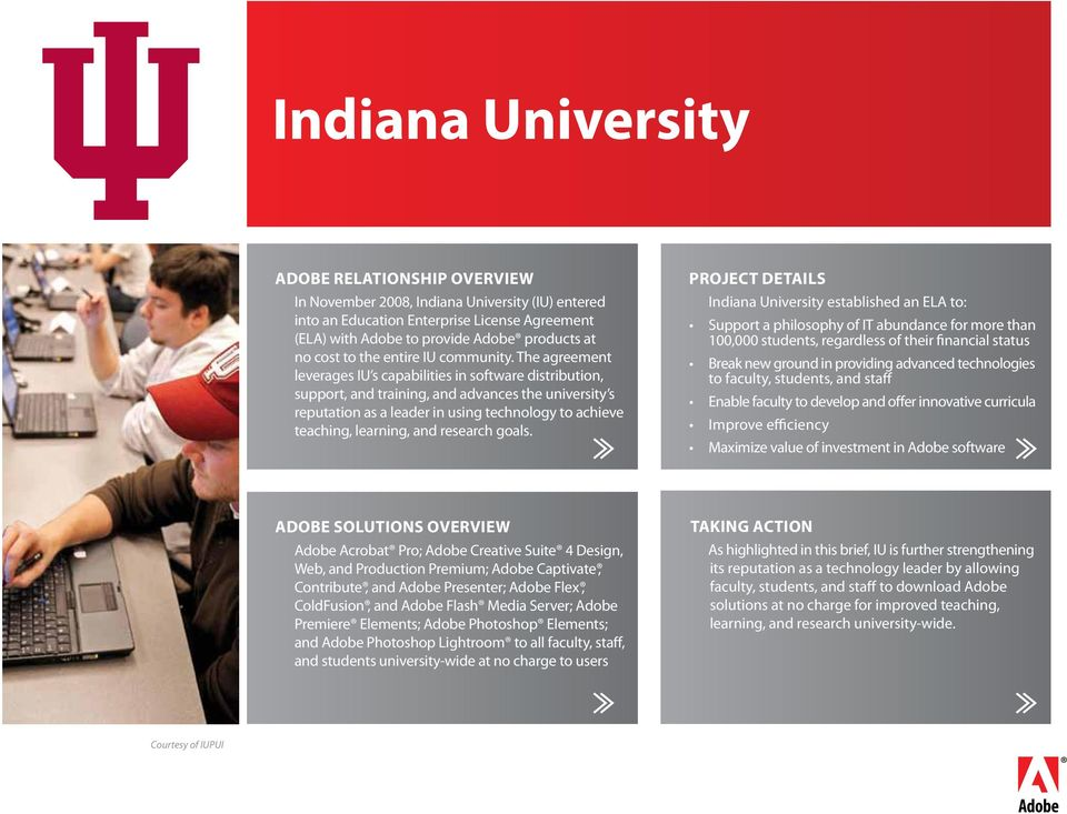 Indiana University Adobe Relationship Overview Project Details Pdf